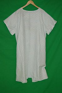 Patient Gown with Blue and White Pattern