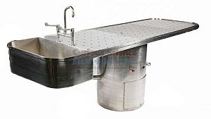 Mortuary table with sink unit