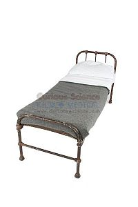 Period Hospital Bed with Grey Linen Set