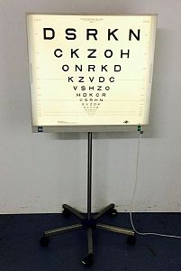 Eye chart light box on stand