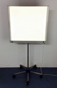 Light box on wheeled stand.