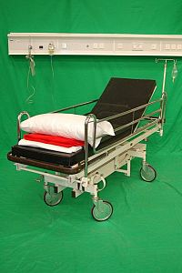 A&E Black Patient Trolley with Chrome Finish