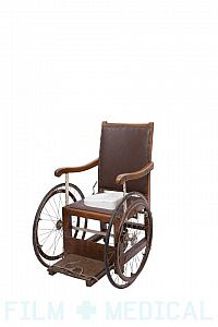 Period wood leather wheelchair