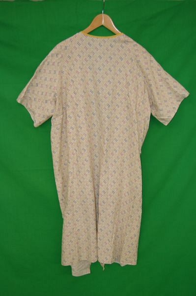 Patient Gown with Cream and Blue Pattern
