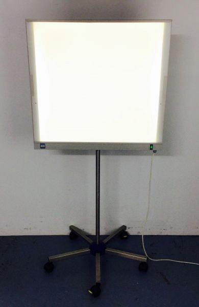 Light box on wheeled stand.