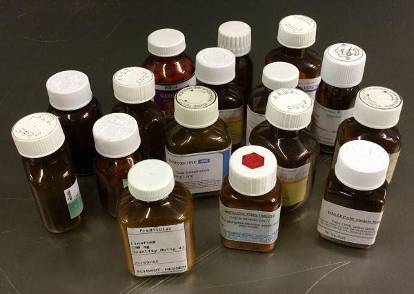 Brown pill bottles