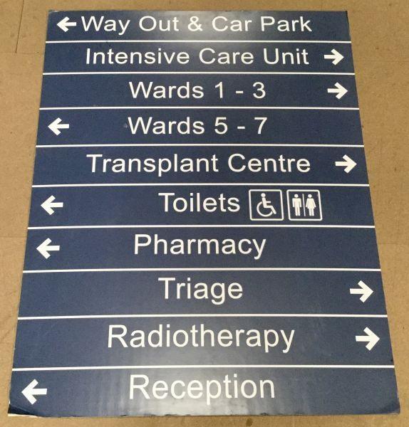 Dark blue hospital sign