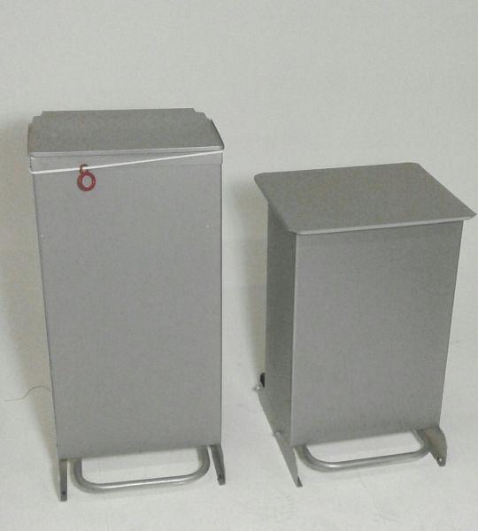 Grey metal bins