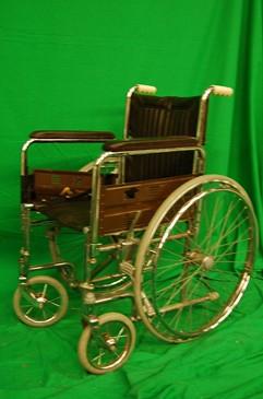 Chrome and Brown Wheelchair